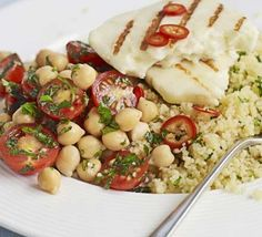 Halloumi with chickpea salsa & couscous - one of my favourite vegetarian dishes, bursting with flavour Bbc Good Food Recipes, Veggie Recipes, Vegetarian Recipes, Cooking Recipes, Healthy Recipes, Veggie Meals, Healthy Dishes, Meal Recipes, Veggie Food