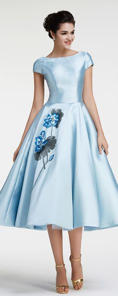 Vintage prom dresses tea length modest prom dress with sleeves ball gown pageant…