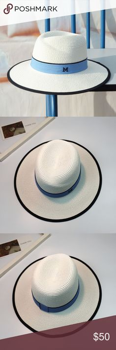 Maison Michel insp Hamptons White Straw Fedora hat White hat with blue ribbon & M logo. Perfect for summer Hamptons getaway look! Size: One size  Only one left! Don't miss it! BLANC NY Accessories Hats