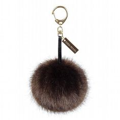 Helen Moore Treacle Brown Faux Fur Pom Pom Keyring available at www.thegreatbritishhome.com #pompom #madeinbritain #fauxfur #keyring #handbag #accessories