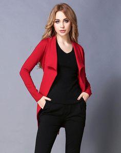 #VIPme (VIPSHOP Global) - #GUSTAVO ARANGO Red Lapel Mid-Length Plain Outerwear - AdoreWe.com