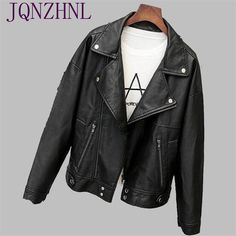 JQNZHNL Spring Women Leather Jacket 2017 Autumn Fashion Short Section lapel Women Jacket Loose Large size Leather Jacket AS113 #Affiliate
