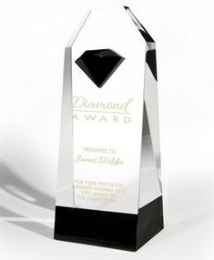 "Optic Crystal Award w/ Black Crystal Accent (5""x12""x3 1/2"")"