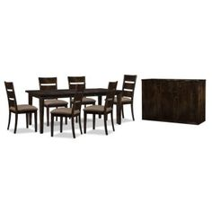 O Canada! Decorate your dining room with furniture that shows the best this country has to offer, like this Bordeaux eight-piece dining package. The entire set is made from 100% Canadian birch that has been hand-finished in a truffle-brown shade for a weathered, heirloom look. This collection is someday meant to be passed down through the generations: a premium catalyzed finish increases the wood's resistance to stains, moisture and chemicals, helping to preserve that classic look. With an…