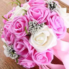24 Artificial Rose Bridal Bouquets Silk Wedding Flower Tall 25CM