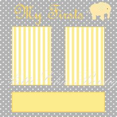 Baby Firsts Yellow and Gray Premade Scrapbook Page. Digital immediate download.