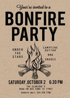 Your place to buy and sell all things handmade Backyard Bonfire Invitation Birthday party Invite Campfire Fall Bonfire Party, Backyard Bonfire Party, Bonfire Birthday Party, Country Birthday Party, Backyard Birthday, 18th Birthday Party, Bonfire Ideas, Backyard Camping, Bonfire Parties