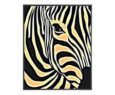 Luxe print in baklijst Zebra III, zwart/wit, 80 x 100 cm | Westwing Home & Living