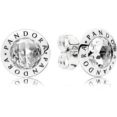 Pandora Earrings - Sterling Silver & Cubic Zirconia Radiant Logo Stud ($65) ❤ liked on Polyvore featuring jewelry, earrings, silver, stud earrings, cz jewellery, sterling silver earrings, earring jewelry and cz jewelry