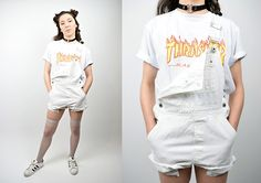 Get this look: http://lb.nu/look/8643129  More looks by Owlephant Vintage: http://lb.nu/owlephantvintage  Items in this look:  Thrasher Skate Tee, Vintage White Overalls, Adidas Superstars   #grunge #punk #street