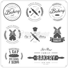 Set of bakery labels, badges and design elements Royalty Free Stock Vector Art Illustration
