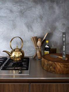 Nice A golden teapot. | CHECK OUT MORE GREAT KITCHEN IDEAS AT DECOPINS.COM | #kitchens #kitchen #kitchenremodel #remodeling #homedecor #homedecoration #decorators #decorating #interiordesign #kitchenideas