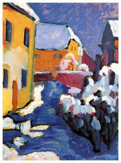 Cemetery and vicarage in Kochel am See. Kandinsky, 1909.