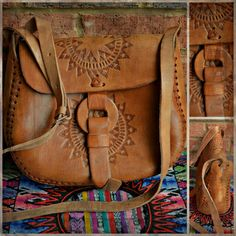Beautiful Hand Stitched Leather Bag from Guatemala with Star Tooling