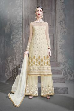 6c5e438f65a29c Buy Off White Net Semi Stitch Salwar Kameez Off White Designer, Wedding  Suits, Salwar