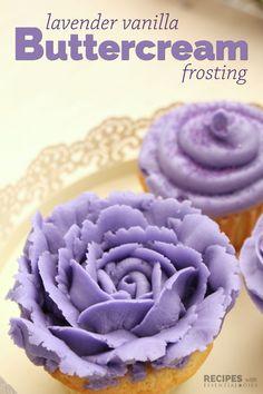 Lavender Vanilla Buttercream Frosting Recipe from RecipeswithEssentialOils.com