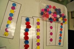Pattern work with pom-poms (This would be great when reading The Very Hungry Caterpillar.)
