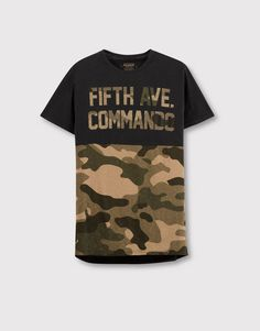 Pull&Bear - hombre - camisetas - camiseta texto camuflaje - negro - 09239516-I2016