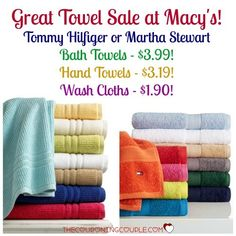 HOT TOWEL SALE! Get Tommy Hilfiger or Martha Stewart Bath Towels as low as $3.99 with free shipping or store pickup! Stock Up!!  Click the link below to get all of the details ► http://www.thecouponingcouple.com/macys-towel-sale-tommy-hilfiger-as-low-as-3-99-bath-towels/  #Coupons #Couponing #CouponCommunity  Visit us at http://www.thecouponingcouple.com for more great posts!