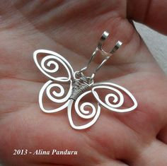 CHARMING BUTTERFLY PENDANT - Handmade Jewelry Wire Wrapped Wirework Sterling Silver Wire Hammered - The Perfect Gift For Any Occasion on Etsy, $42.00