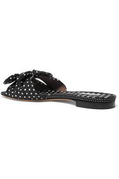 Tabitha Simmons - Cleo Bow-embellished Polka-dot Twill Slides - Black - IT37.5