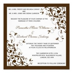 Formal Elegant Floral Swirls Wedding Invitations