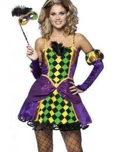 Mardi Gras Queen, Includes colorful mini dress, eye mask, and gloves