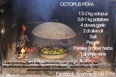 Recipe for Octopus under Peka, traditional Croatian Meal - nothing better than under the peka!!!!