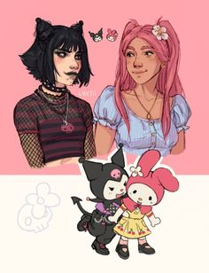 Hello Kitty Characters, Sanrio Characters, Hello Kitty My Melody, Hello Cat, Character Art, Character Design, Bubbline, Drawing Reference Poses, Human Art