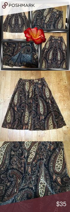 "VINTAGE BRUSHED VELVET A-LINE SKIRT Excellent vintage condition. Zipper and snap back closure. 20"" waist; 26"" length. A-line style but swings when you walk! Very cool, possibly hand made, funky pattern resembles an oriental carpet. Comfortable as I've tried to wear it. Vintage Skirts Midi"