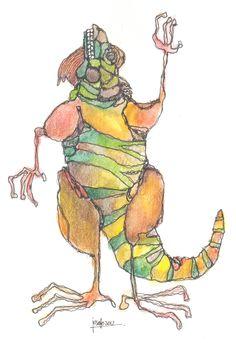 Iguana 2. Acuarela y tinta.