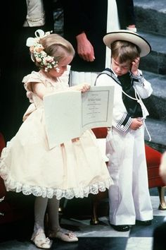 Prince William and his cousin at the wedding of the Duke and Duchess of York (1986)