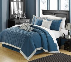 This traditional floral embroidery pattern comforter set with tones of Aqua and Silver will enhance any master suite while adding old world charm with this traditional look. This 8-piece lavish comforter set comes with everything you need to do a complete makeover for your master or guest suite. #Chichome #Blue #Silver  #Luxbed #home #comforter #bedding
