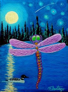 Dragonfly with Loon on Pond with Full Moon and Owl 6x8