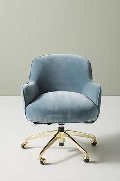 Camilla Swivel Desk Chair - Office Chair - Ideas of Office Chair - Slide View: Camilla Swivel Desk Chair Desk Chair Comfy, Diy Chair, Swivel Chair, Chair Cushions, Upholstered Desk Chair, Cute Desk Chair, Work Chair, Chair Pads, Fancy Chair