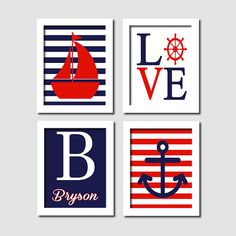 Nautical Wall Art Sailboat Love Captains Wheel Anchor Monogram Navy Red Set of 4 Prints Baby Boy Nursery Kids Bathroom Bedroom Decor Picture