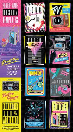 Retro Cool 1980s Poster Templates #pack#running#designs#graphics