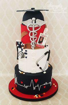 Celebration Cakes-Page 1 Nursing Graduation Cakes, Nurse Grad Parties, Graduation Cake Designs, Graduation Cupcakes, Medical Cake, Medical Party, Doctor Cake, Doctor Birthday Cake, School Cake