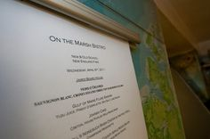 Executive Chef Jeffery Savage's menu for the evening.  http://www.facebook.com/onthemarshbistro  http://www.onthemarsh.com