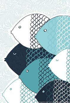 fish, book illustration - but great inspiration Art And Illustration, Illustrations Posters, Pattern Illustration, Fish Art, Grafik Design, Art Design, Fish Design, Book Design, Art Plastique