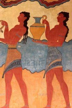 Detalle de los frescos de las Palacio de Cnosos. Es el mayor sitio arqueológico de la edad del bronce en Creta.