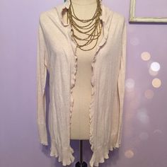 """MODA International cream color Ruffle cardigan Excellent condition! Color is a light oatmeal/cream. Size small. No buttons and slight ruffle on edges. Beautiful cover up cardigan! Length when laid flat: 30"""".  no trades or Paypal  Moda International Sweaters Cardigans"""