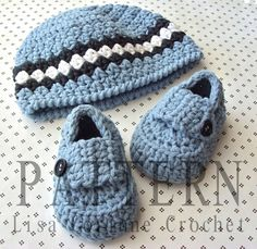 Pattern Crocheted Baby Boy Booties Modern Crochet Loafer Shoe Style and Infant Striped Beanie Cap Hat Set. $9.50, via Etsy.
