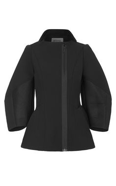 This black neoprene **Maticevski** jacket is collarless and features voluminous three-quarter sleeves, slip front pockets, and contour seams throughout.