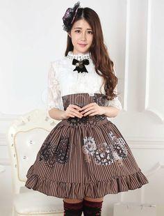 Classique taille haute Brune Jupe lolita marrone douse excellente en polyester impression avec dentelle