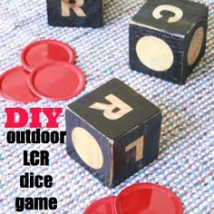LCR dice game tutorial - looks like a fun game for outdoors, and could do small-size version for indoors.