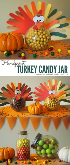 Adorable Autumn Thanksgiving Kids Craft Gift Decor Party Idea! { DIY Tutorial } Handprint Turkey Candy Jar with @SweetWorks Candy and other decorating ideas #SweetworksAutumn AD