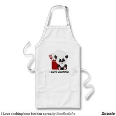 I Love cooking bear kitchen apron