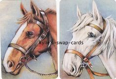 R33 HORSES HORSE HEADS swap playing cards MINT CONDITION linen finish pretty