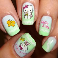 Hello Kitty nail design - Kitty Kat Nail Water Decals | Nail Art Supplies | Sparkly Nails